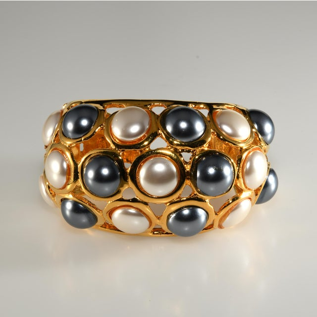 Kenneth Jay Lane Cuff Bracelet Faux Pearls For Sale In Austin - Image 6 of 6