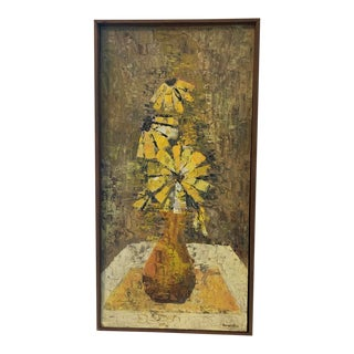 Mid-Century Modern Abstract Oil on Board Painting Signed Griffiths For Sale