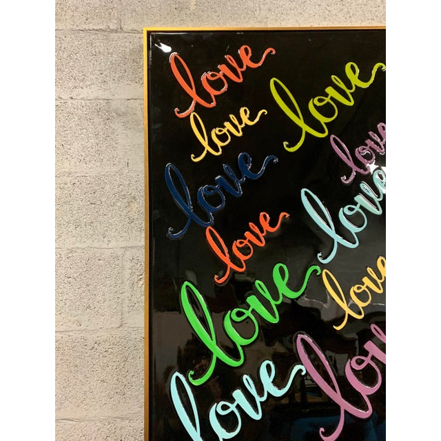 Monumental Art Framed Oil Painting With Resin on Canvas With Love Words by Franchy For Sale - Image 11 of 13