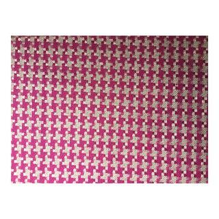 Osborne & Little Herringbone Textile in Fuchsia & Cream Fabric For Sale