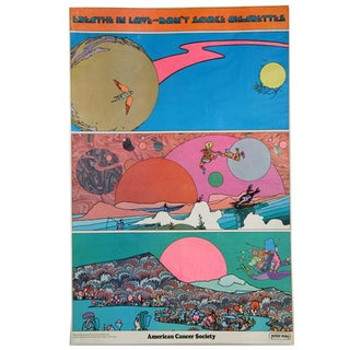 """Peter Max """"Breathe in Love -- Don't Smoke Cigarettes"""" Print For Sale"""