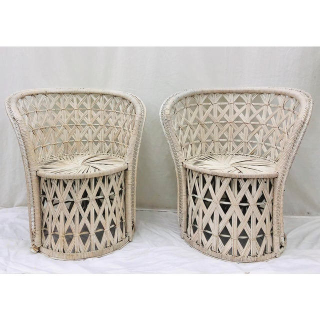 Boho Chic Pair Boho Chic White Wicker & Rattan Chairs For Sale - Image 3 of 13