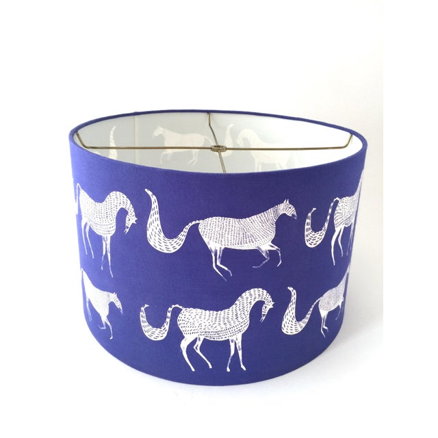 Vintage Blue Scalamandre Style Drum Lampshades With Lascaux Horse Design - a Pair For Sale In Portland, OR - Image 6 of 12