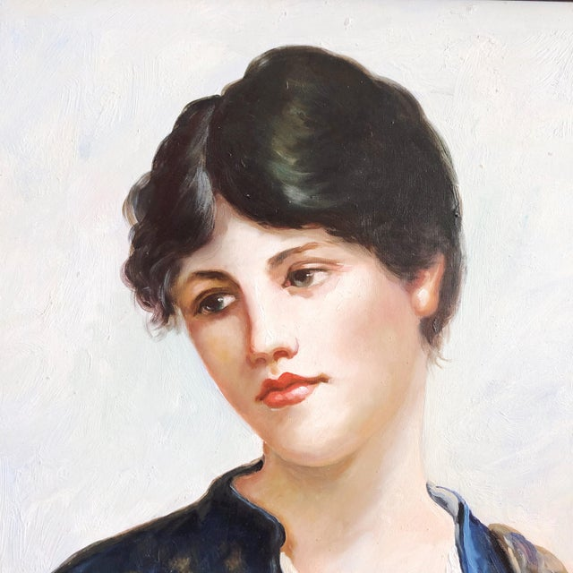 Vintage Oil Painting Portrait of a Woman For Sale - Image 4 of 10