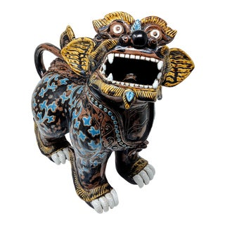 Ceramic Painted Imperial Guardian Lion and Foo Dragon For Sale