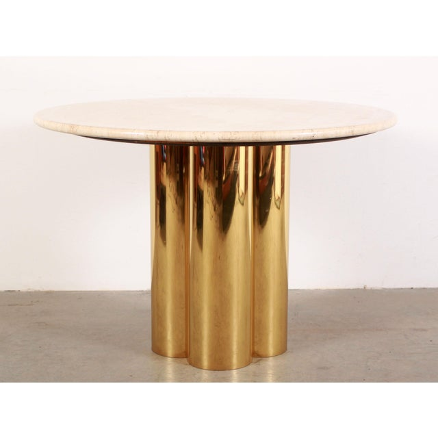 Mid Century Modern Mastercraft Polished Brass Quatrefoil & Travertine Dining or Game Table For Sale - Image 11 of 11