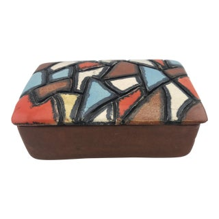 Vintage Ceramic Box W Carved Multicolored Mosaic Lid