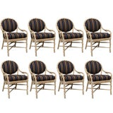 Image of 1980s Vintage McGuire Twisted Rattan and Rawhide Chairs- Set of 8 For Sale