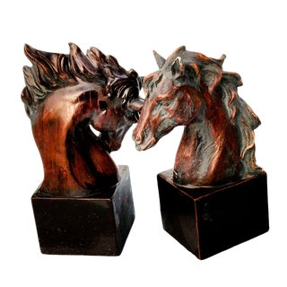 Modern Faux Mahogany Cast Resin Wild Mustang Horse Head Bust Bookends - a Pair For Sale