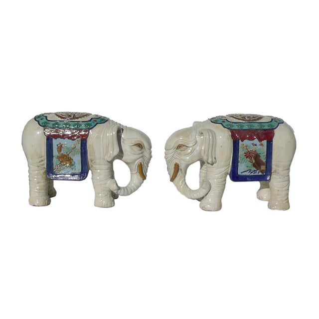 Ceramic Off White Oriental Elephant Figures - Pair For Sale - Image 5 of 7