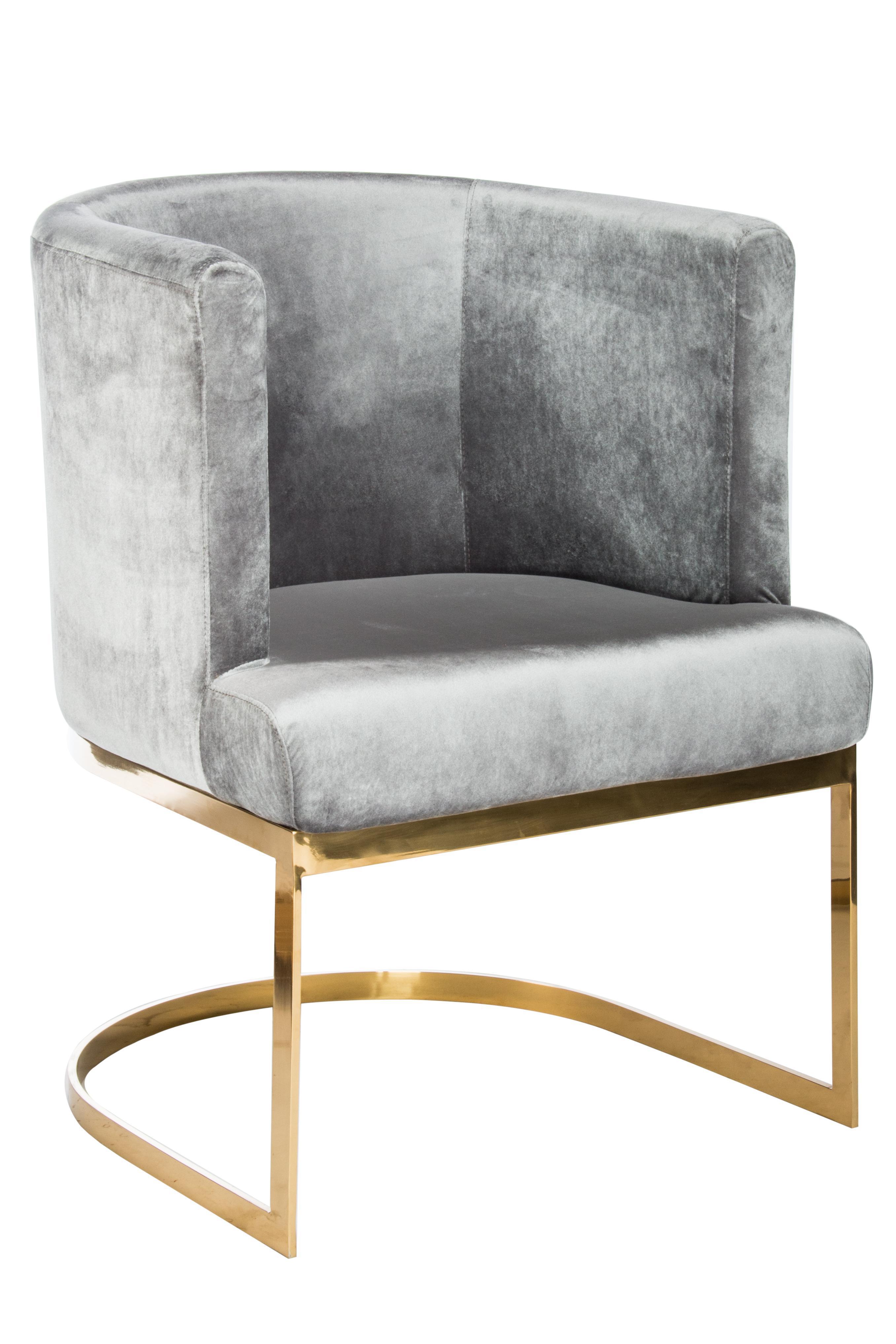 Circular Gray Velvet U0026 Gold Dining Chairs   Set Of 6
