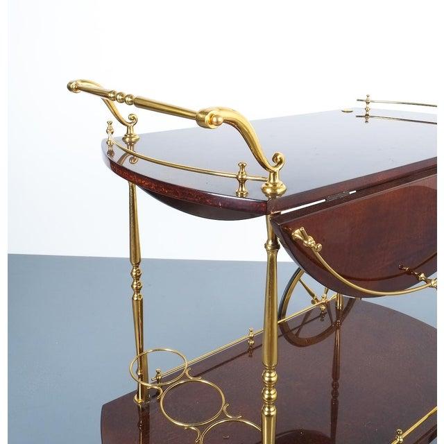 Aldo Tura Adjustable Brown Parchment Brass Bar Cart, 1960 For Sale - Image 11 of 13