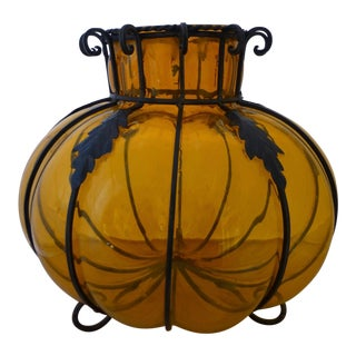 Large Mid Century Orange Caged Glass Vase For Sale