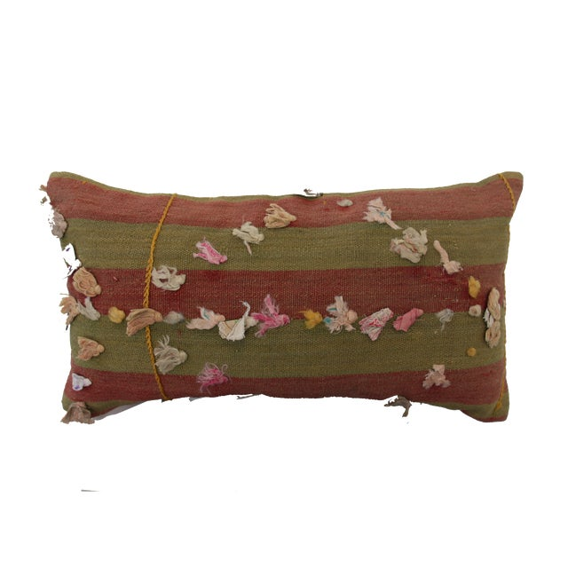 Boho Chic Vintage Turkish Rug Tassel Pillow For Sale - Image 3 of 6