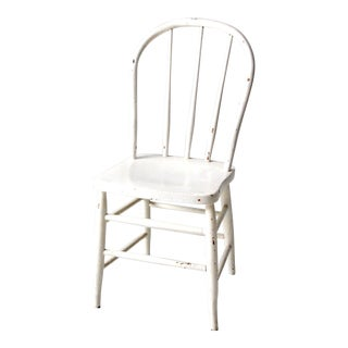 Antique White Bow Back Windsor Chair For Sale