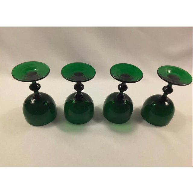 Mid-Century Modern Carlo Moretti Emerald Green White Cased Glass Coupes - Set of 4 For Sale - Image 3 of 4