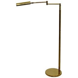 1970s Koch & Lowy Mid-Century Modern Brass Adjustable Reading Floor Lamp For Sale