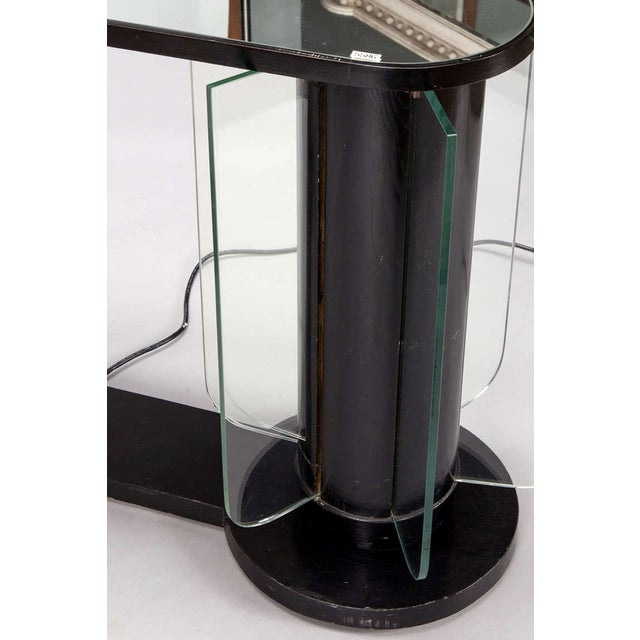 French Art Deco Ebonized Mirror Top Illuminated Console - Image 4 of 5