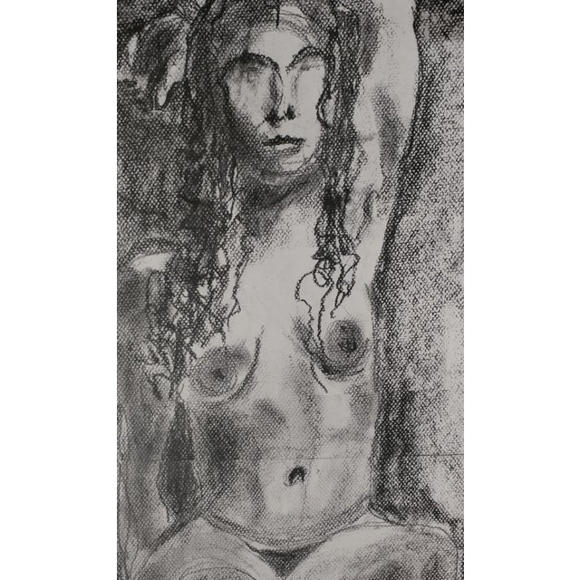 "Rita Shulak -Nude Female - Sketch Painting-Charcoal original charcoal on paper -signed no frame - paper size 14 x 24""..."