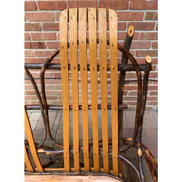 Brown Bentwood and Twig Adirondack Double Vintage Rocking Chair For Sale - Image 8 of 13