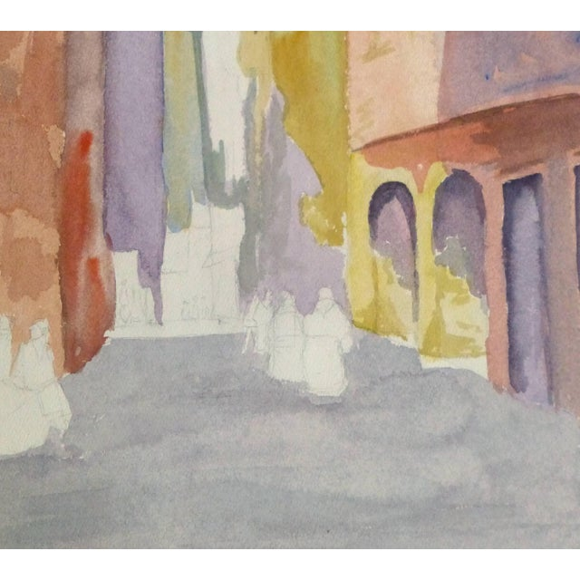 Traditional French Watercolor - Pastel Town For Sale - Image 3 of 5
