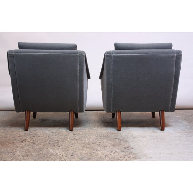 Pair of Danish Modern Teak and Mohair Lounge Chairs For Sale In New York - Image 6 of 11