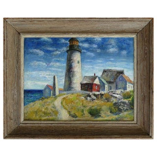 Contemporary Samuel Brecher Oil Painting of Pemaquid Lighthouse E Boothbay, Me For Sale