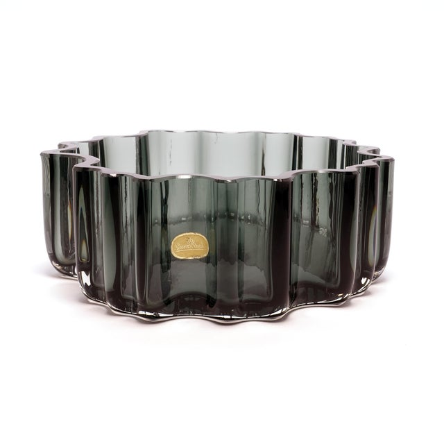 Abstract 1960s Tapio Wirkkala Rosenthal Crystal Cogwheel Console Bowl For Sale - Image 3 of 7