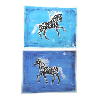 Pair of Chinoiserie Absract Horse Paintings by Cleo Plowden For Sale