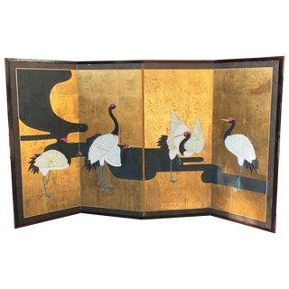 Meiji Era Cranes Along a River Japanese Screen Grues Aux Bords d'Une Riviere For Sale
