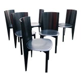 Image of Post Modern Italian Black Leather and Lacquer Dining Chairs - Set of Six For Sale