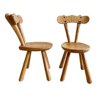 Pair Pine Spanish Hand Carved Chairs.