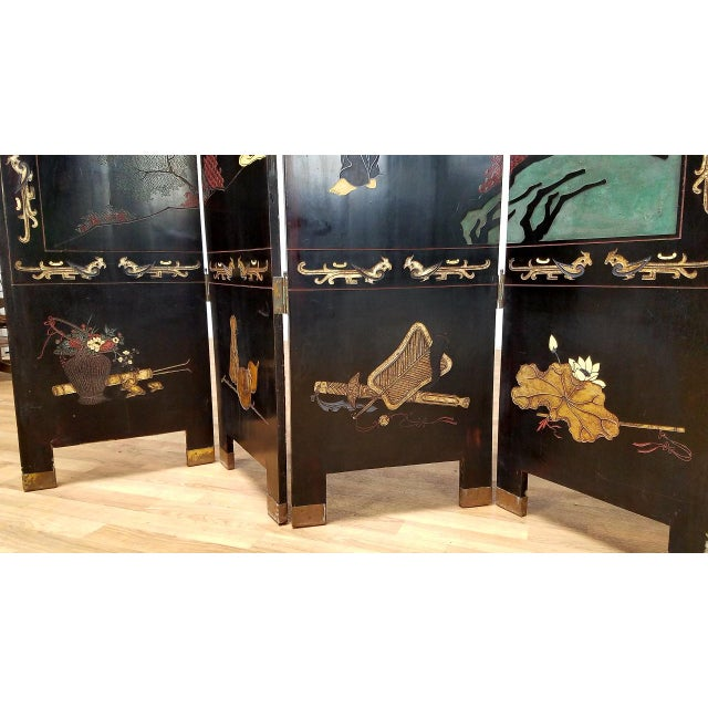 1980s Japanese 4-Panel Room Divider For Sale - Image 4 of 7