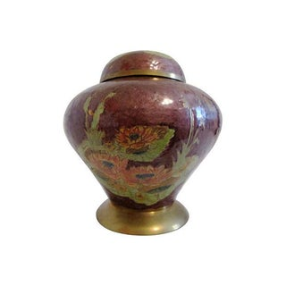 Cloisonné Water Lily Ginger Jar For Sale