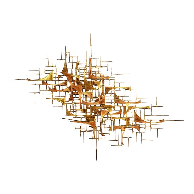 1970's Vintage Style of Jere Copper and Brass Brutalist Wall Sculpture For Sale