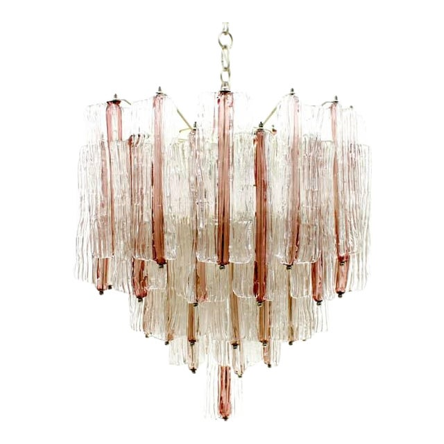 Large Pink and White Venini Murano Chandelier by Toni Zuccheri, 1960s For Sale