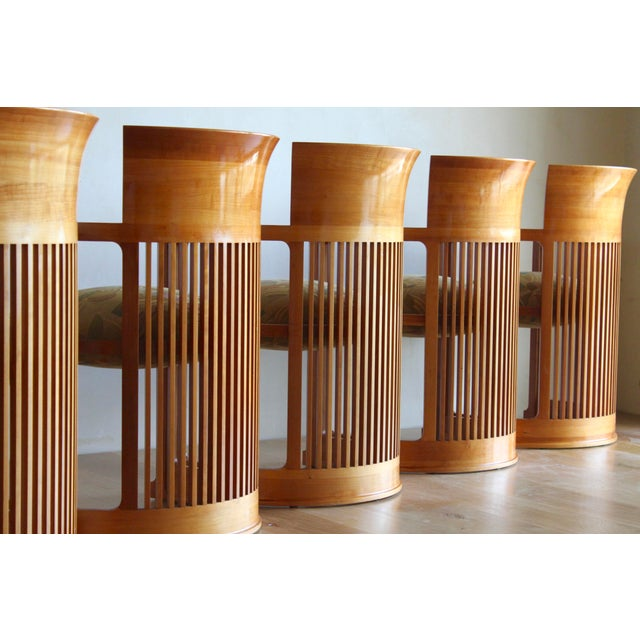 Brown Vintage 1986 Frank Lloyd Wright for Cassina Taliesin 606 Barrel Chairs - Set of 6 For Sale - Image 8 of 13