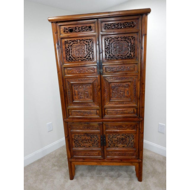 Chinese Carved Teak Wood Cabinet For Sale - Image 11 of 12
