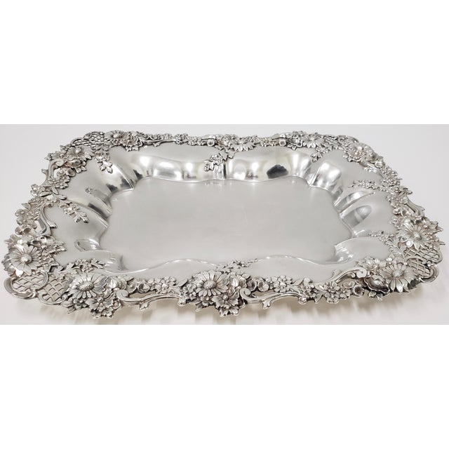 """Theodore B. Starr 14.5"""" Sterling Sandwich Tray c.1880s Simply the best sterling tray we've come across. The beautiful..."""