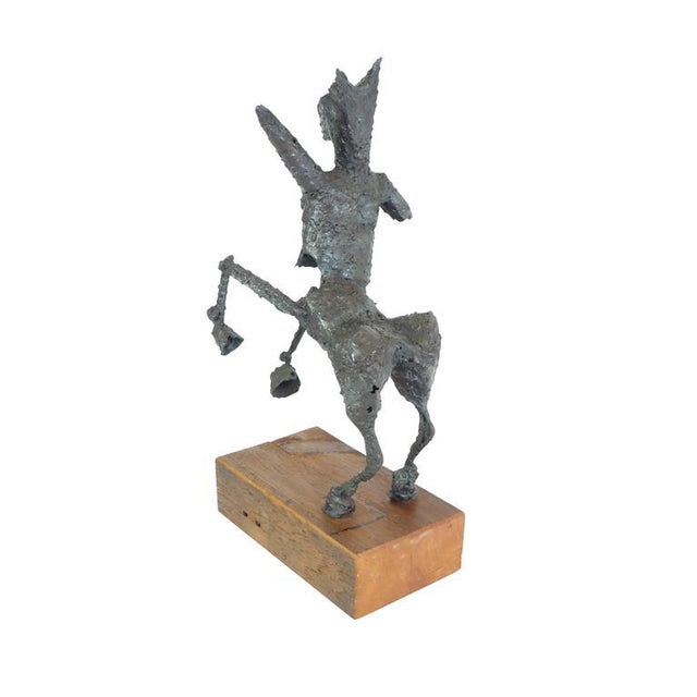1950s Steel Centaur Sculpture on Wood Base For Sale - Image 5 of 10
