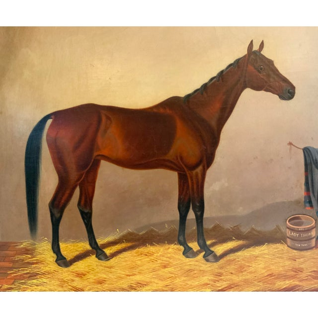 19th Century 19th Century Equestrian Stall Oil Painting, Framed For Sale - Image 5 of 13