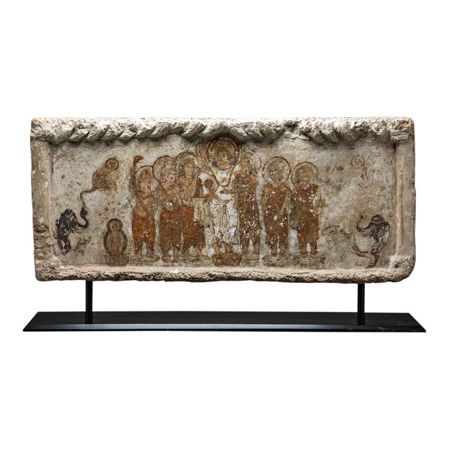 Gandharan Painted Stone Lintel Depicting the Birth of the Buddha For Sale