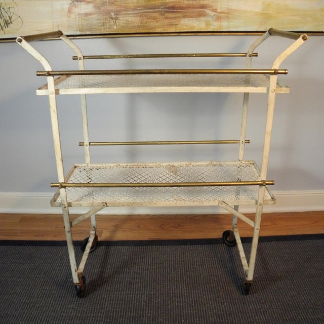 Vintage Mid-Century Folding Bar Cart - Image 2 of 6
