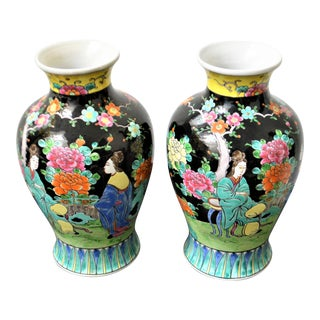 Pair of Hand Painted and Glazed Japanese Vases, Bright Colors on Black Background. For Sale