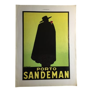 1930s Vintage Porto Sandeman French Advertisement For Sale