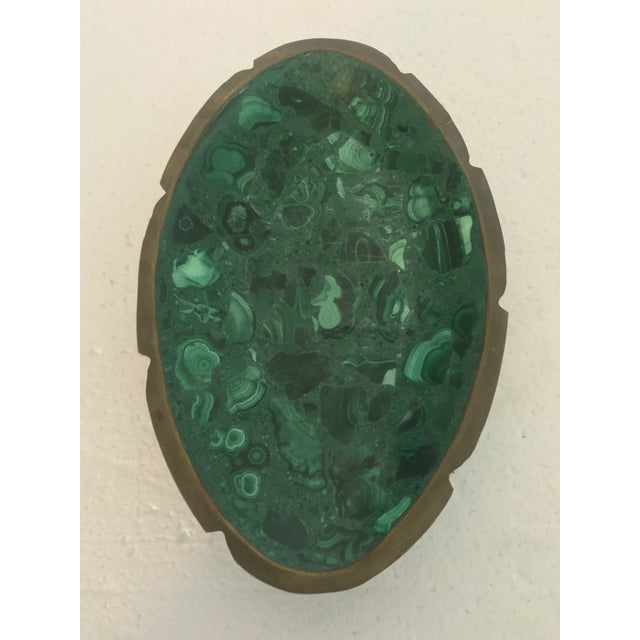 Gemstone Malachite and Brass Ashtray Catchall For Sale - Image 7 of 10
