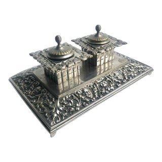 Silver Tone Double Inkwell With Detailed Metallic For Sale