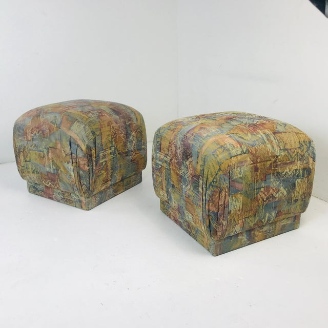 Pair of Pouf Ottomans With Plinth Base For Sale - Image 10 of 12