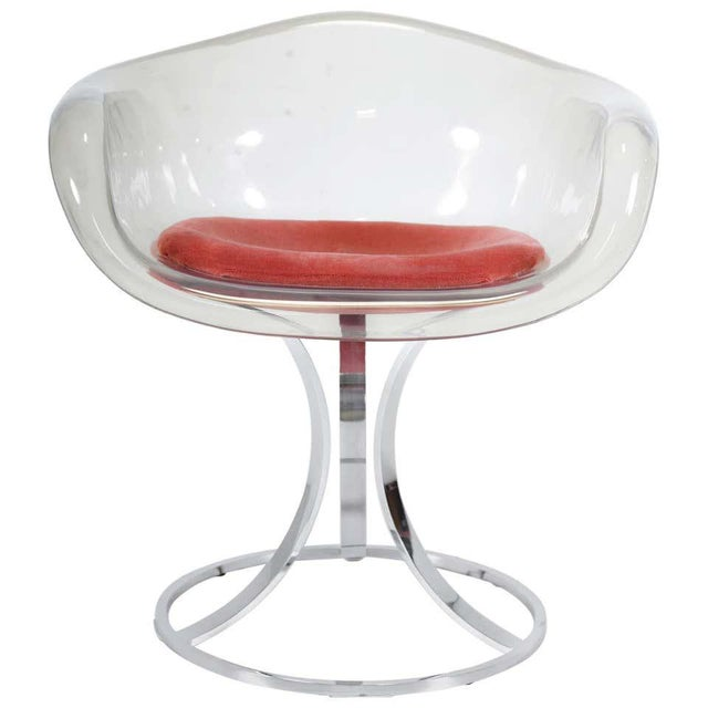 Metal Peter Hoyte Acrylic Tulip Chair on Chrome Base For Sale - Image 7 of 7