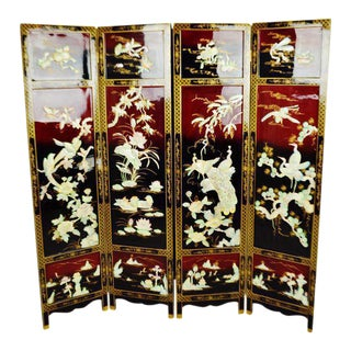 Vintage Chinese Lacquered Black and Red Folding Screen Room Divider For Sale